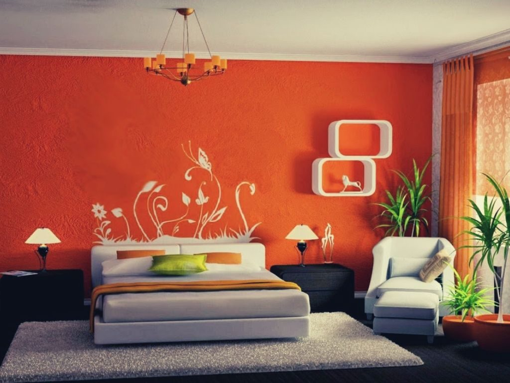 Using orange wallpaper will provide a welcoming and cheerful room.
