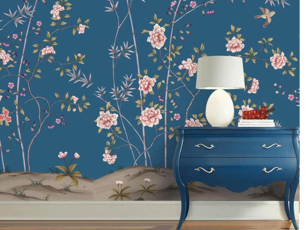 Oriental wallpapers elaborate designs with photos of birds, figures and nature.