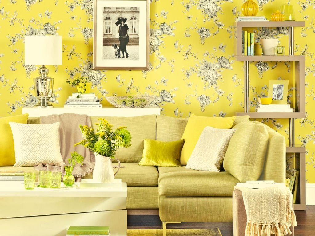 Yellow wallpaper can mild up your room without making the room feel smaller.