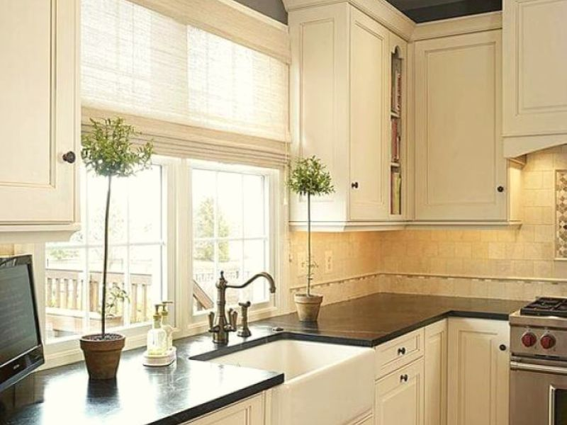 Choose Different Shades in White for white kitchen cabinets.