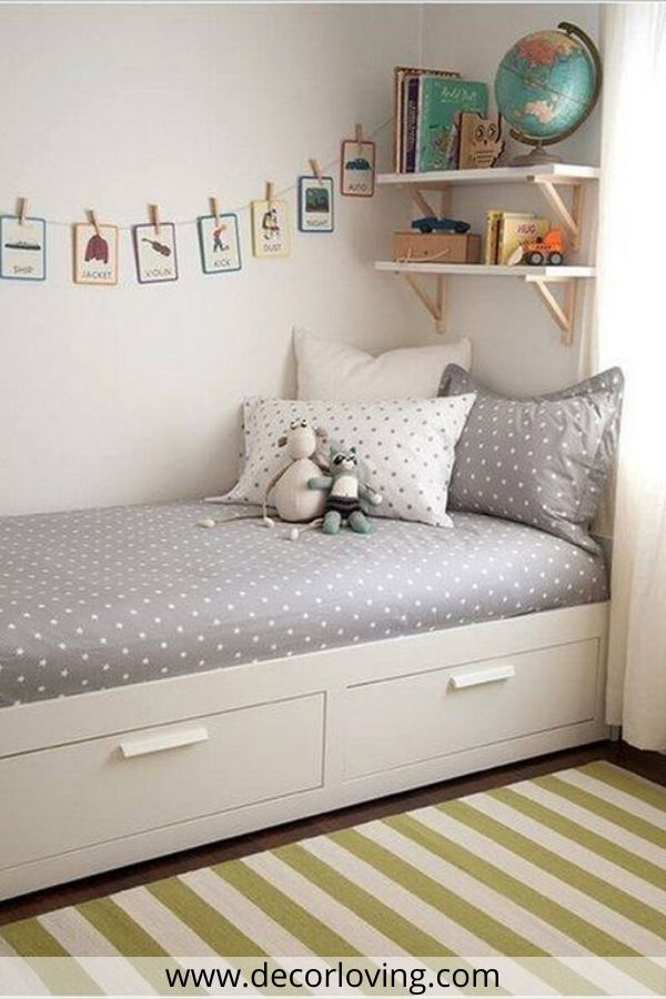 kids bedroom With grey Bed