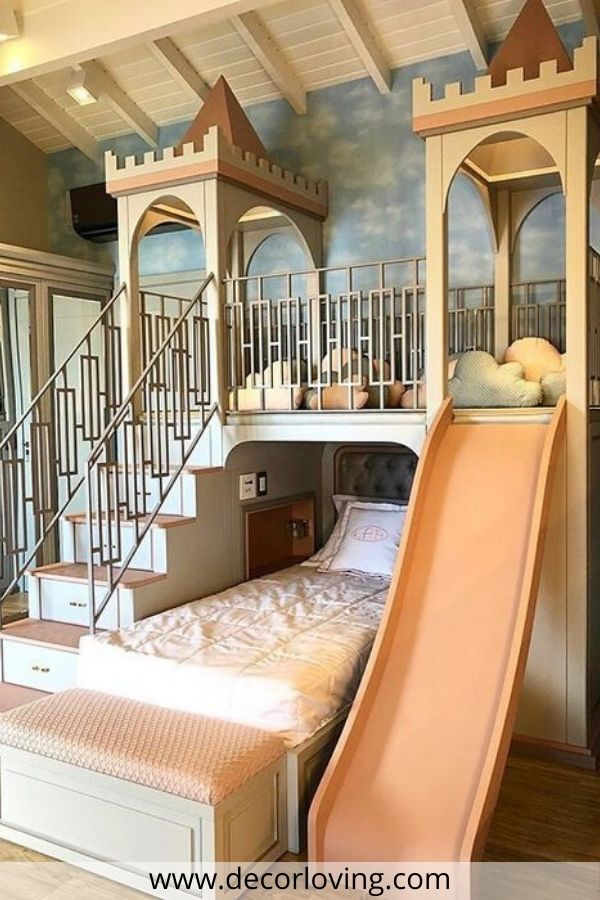 kids bedroom with slide
