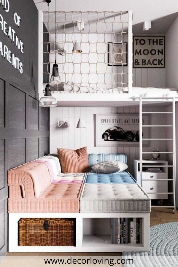 grey kids bedroom with sofa