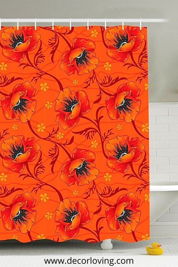 black and orange shower curtains